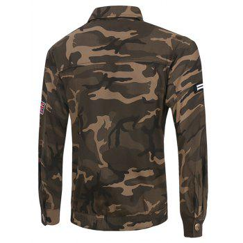 Plus Size poches design col rabattu manches longues Camouflage Cargo Jacket - Camouflage L