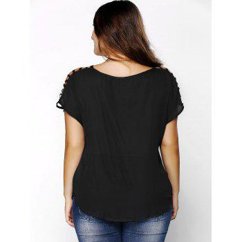 Plus Size Ripped Sleeve V Neck T-Shirt - BLACK XL