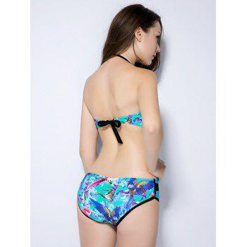 Halter Imprimer V Shape Backless High Cut Maillots de bain - Pers M