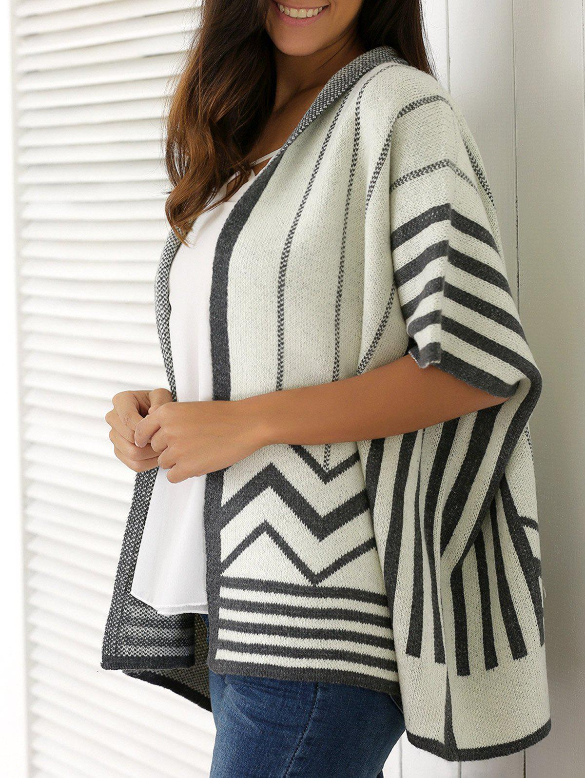 Striped Batwing Sleeve Cardigan - GRAY ONE SIZE(FIT SIZE XS TO M)