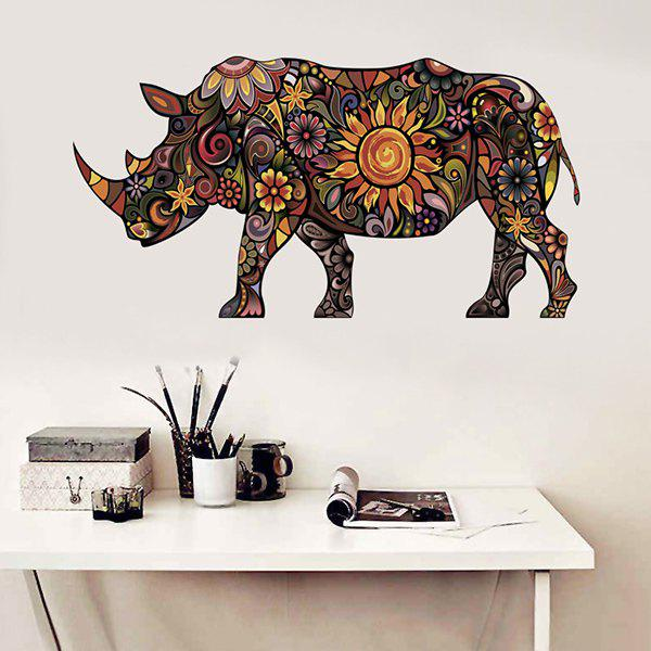 Decorative Abstract Colorful Rhino Pattern Removeable Wall Sticker - COLORMIX