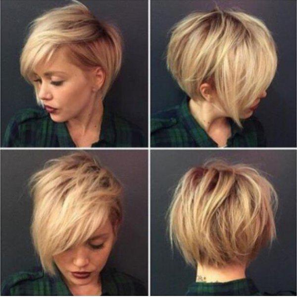 Fluffy Straight Synthetic Short Mixed Color Side Bang Capless Wig