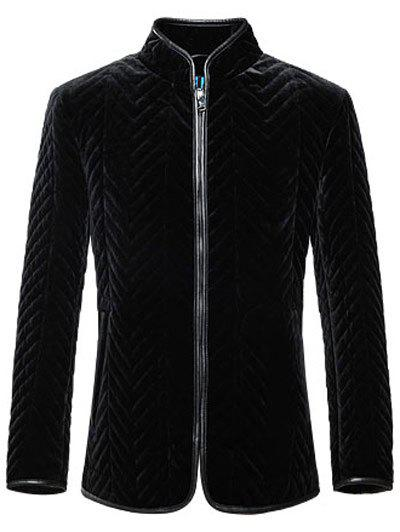 Zip Up Zigzag Seamed Leather Trim Coat - BLACK 2XL