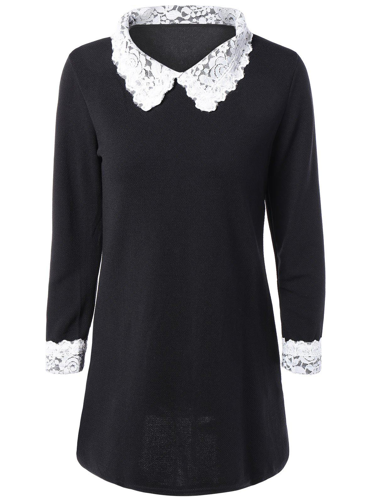 Lace Spliced Flat Collar Casual Dress Fall - BLACK 5XL