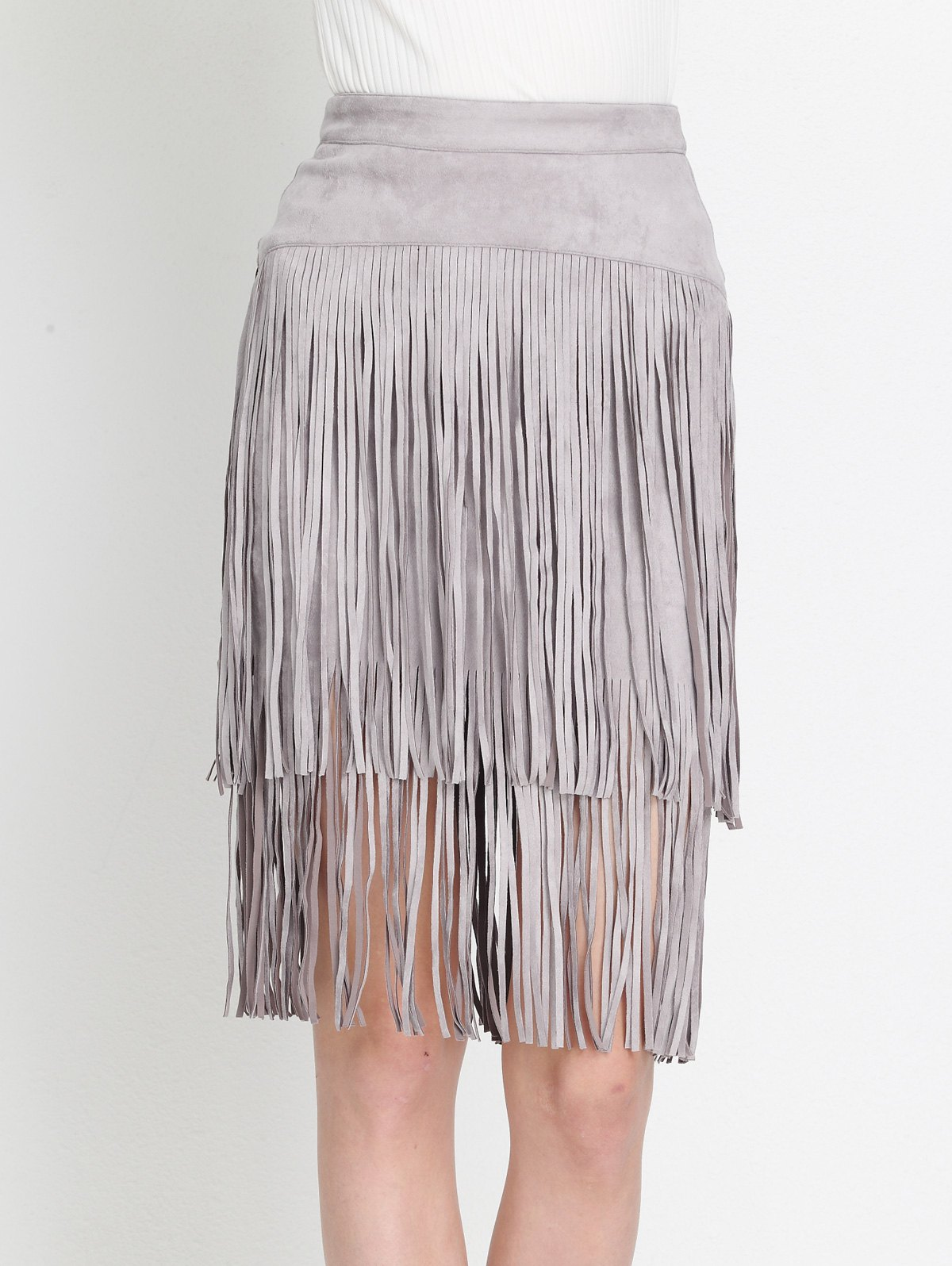 High Waist Tiered Fringed Suede Skirt - GRAY M