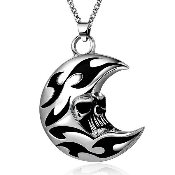 Rock Enamel Moon Skull Head Pendant Necklace - SILVER GRAY