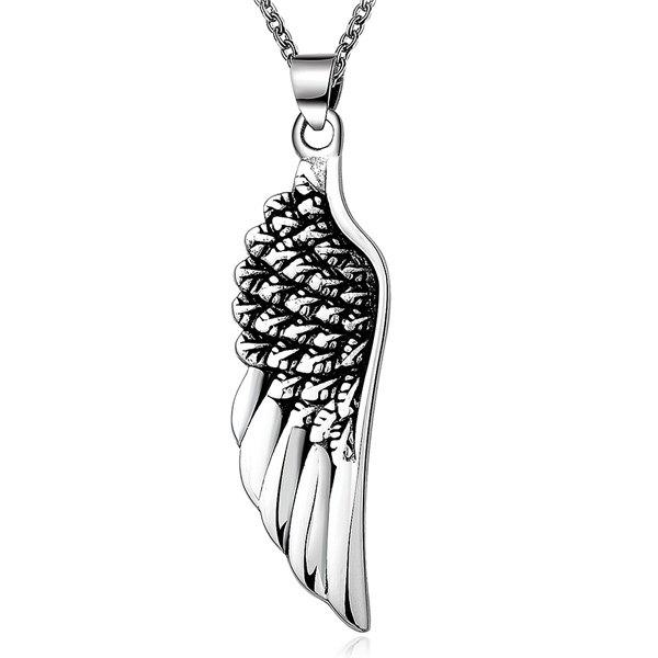 Stylish Stoving Varnish Middle Wing Pendant Necklace - SILVER