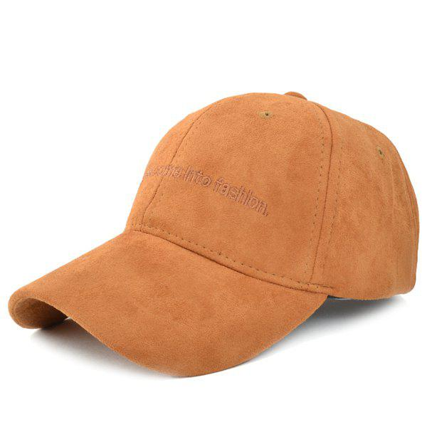 Trendy Faux Suede Letters Embrodery Baseball Cap For Women - BROWN
