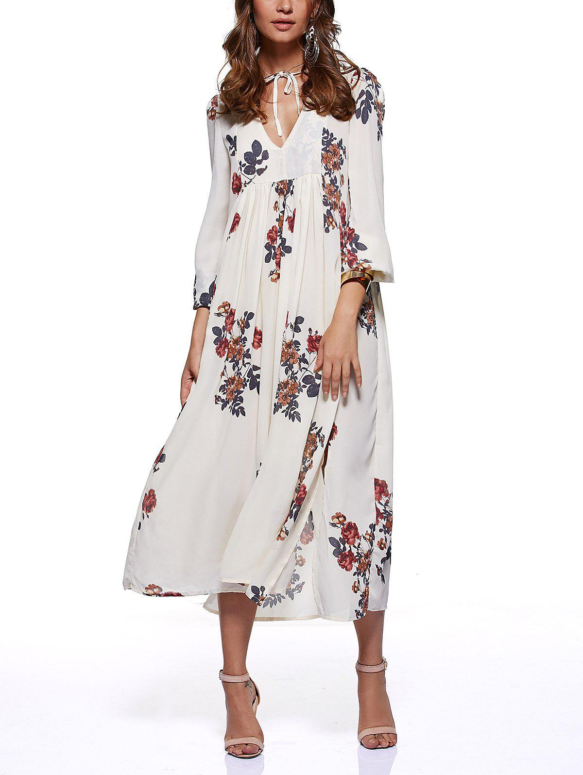 Ethnic Style Floral Print High Slit Dress - BEIGE L