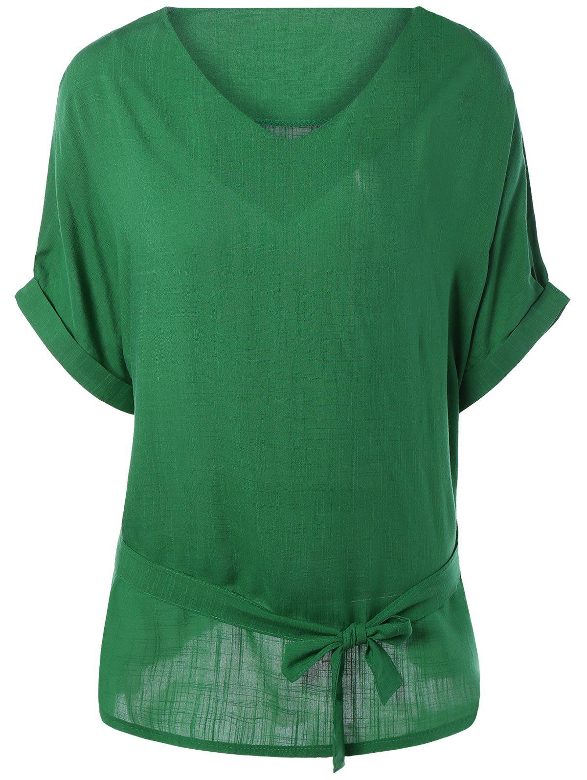 Plus Size V Neck Belted Loose Linen Blouse - GREEN 5XL