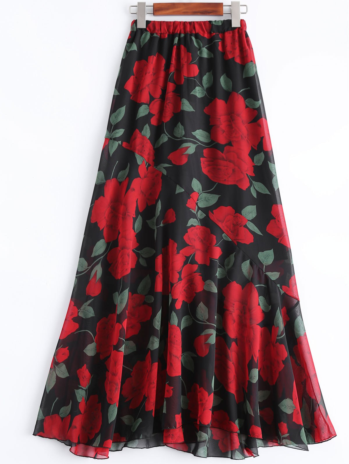 Retro Rose Print High Waist Maxi Chiffon Skirt - RED XL