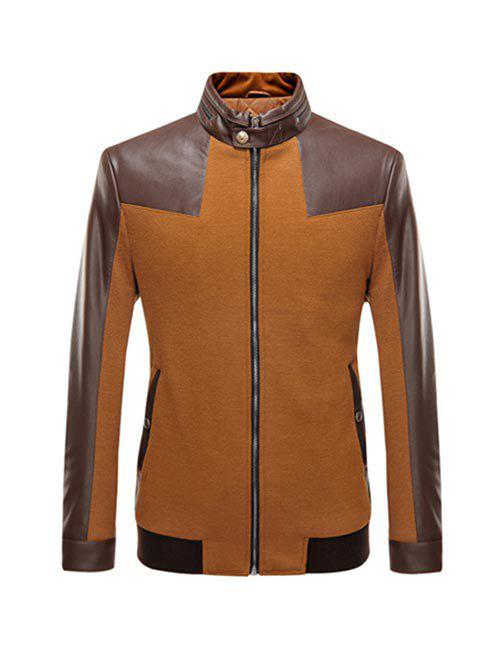 Stand Collar Zip-Up Leather Spliced Jacket pu leather and corduroy spliced zip up down jacket