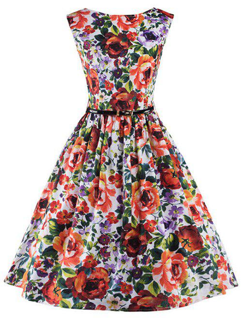 Floral Print Belted Pin Up Dress - COLORMIX 2XL