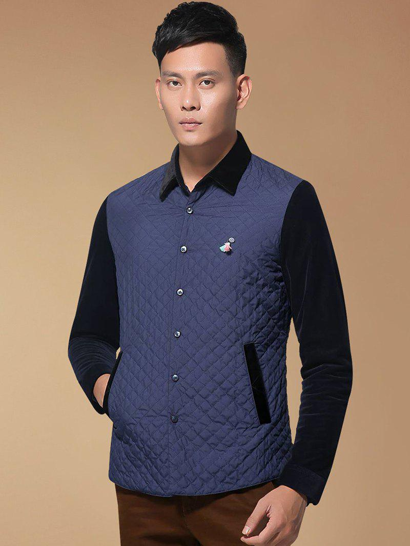 Argyle Spliced Turn-Down Collar Single Breasted Quilted JacketMen<br><br><br>Size: M<br>Color: PURPLISH BLUE