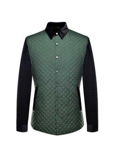 Argyle Spliced Turn-Down Collar Single Breasted Quilted Jacket quilted studded double strap argyle sweatshirt