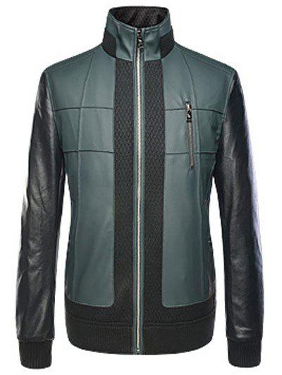 Long Sleeves Zippered Rib Spliced Faux Leather Jacket
