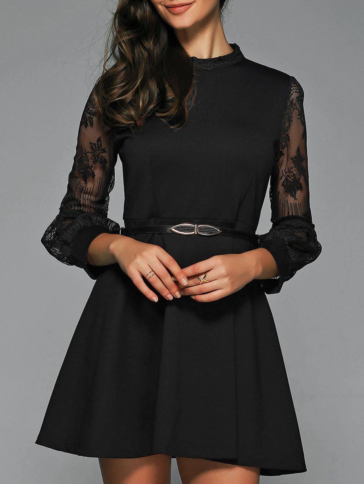 A Line Sheer Dress With Belt - BLACK M