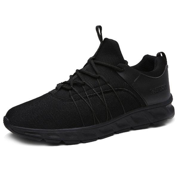 Splicing Lace-Up Athletic Shoes - BLACK 43