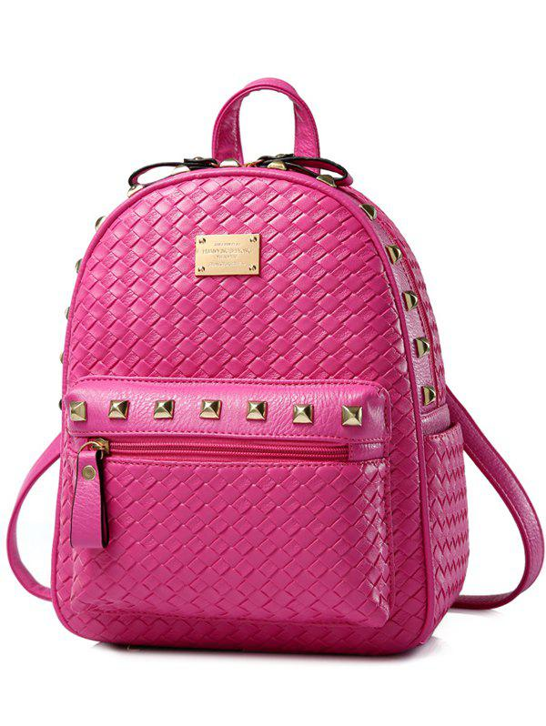 Zippers Rivets Woven Pattern Backpack - ROSE MADDER