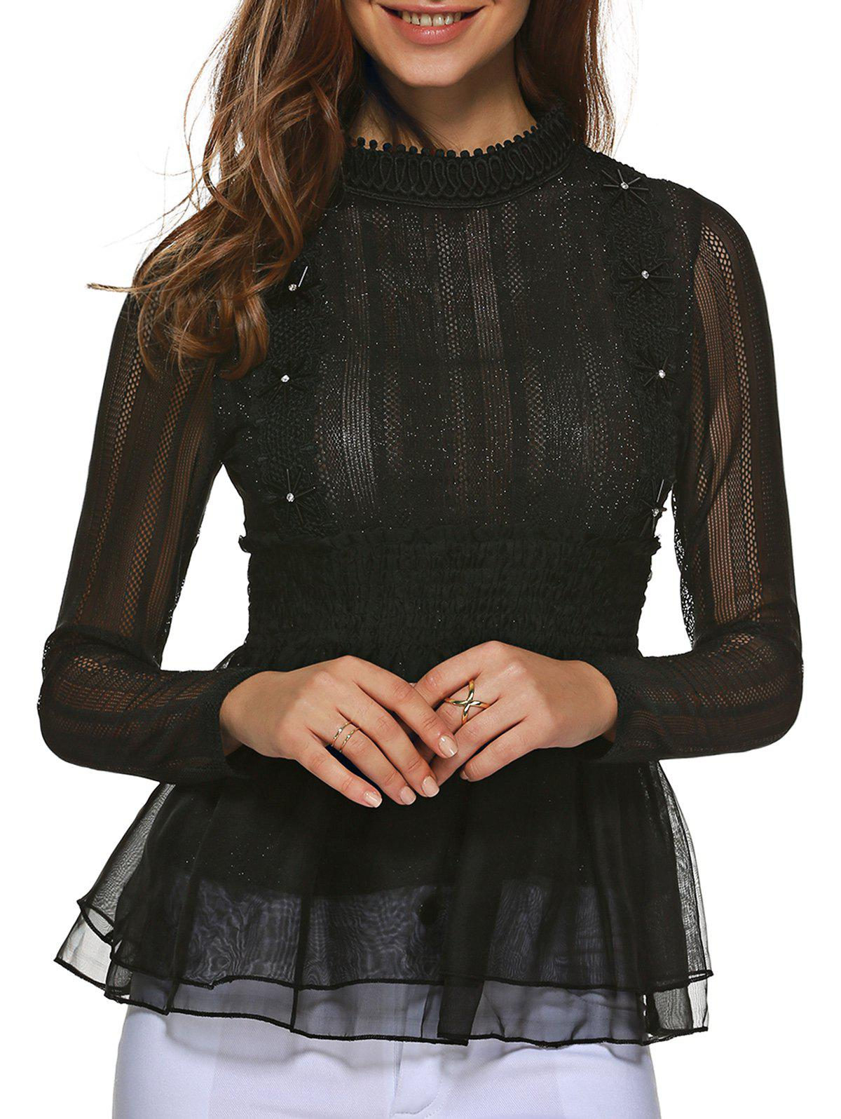 Lace Paneled Tulle Blouse