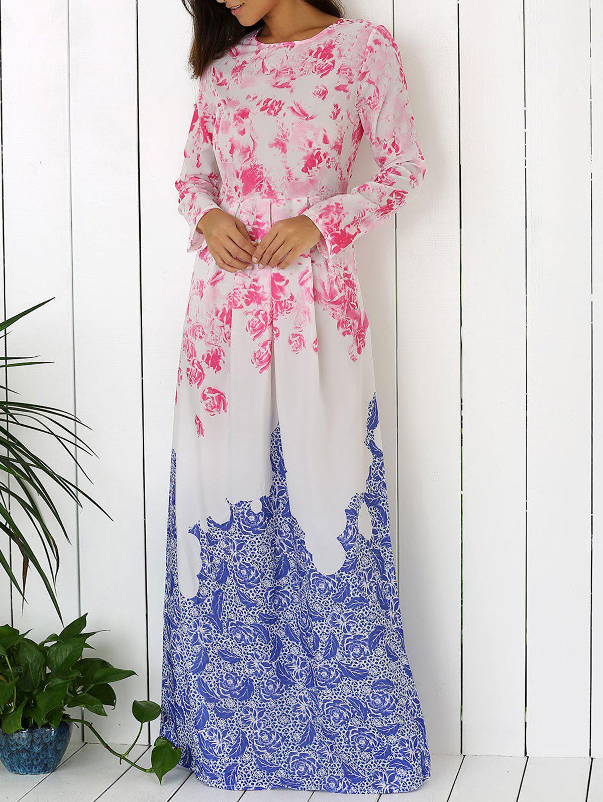Elegant Floral Print Maxi Dress - WHITE XL