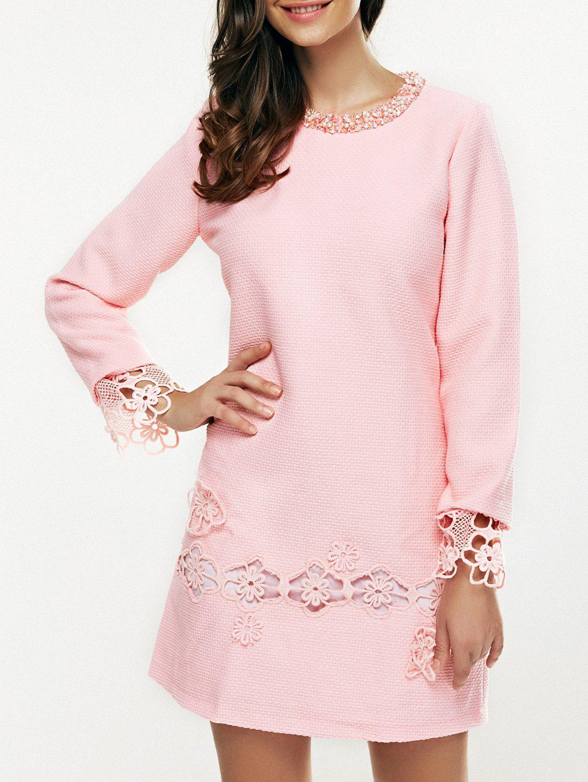 Beaded Embroidered Mini Dress - PINK 3XL