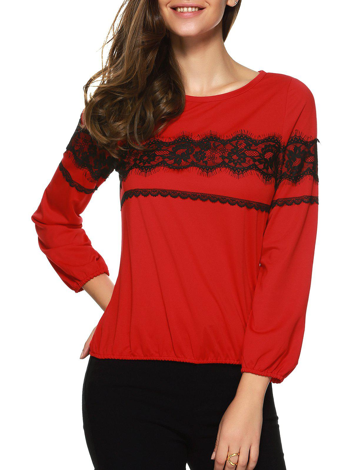 Lace Spliced T Shirt - RED 2XL