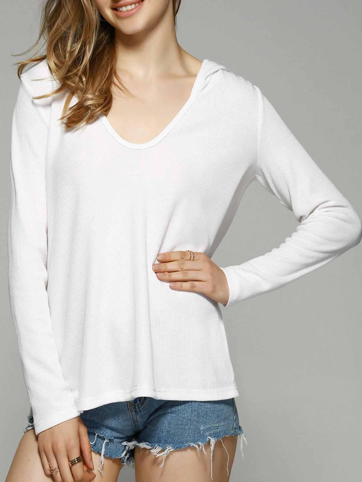 Loose Fitting Knitted Hoodie - WHITE XL