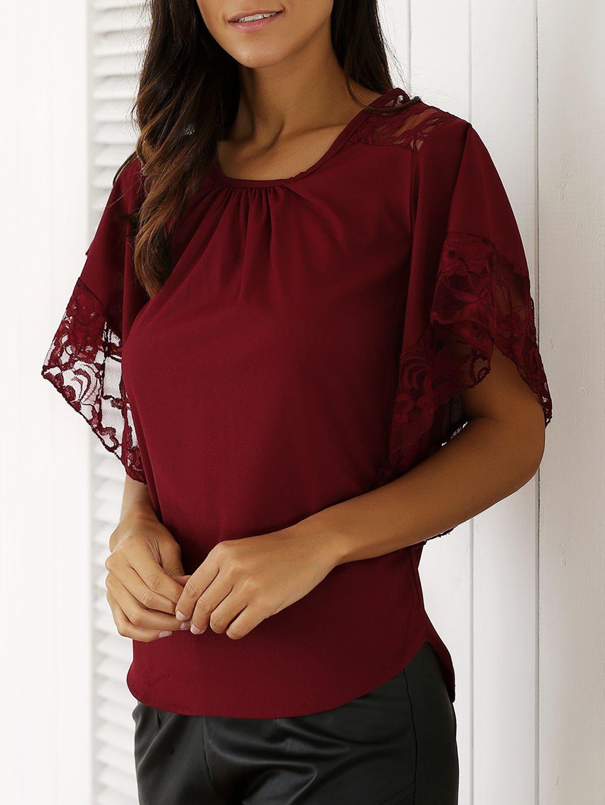 Chic Batwing Sleeve Lace Spliced Blouse - RED XL