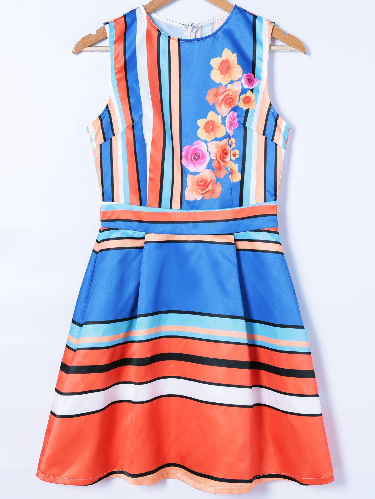 Colorful Striped Floral Dress - BLUE XL