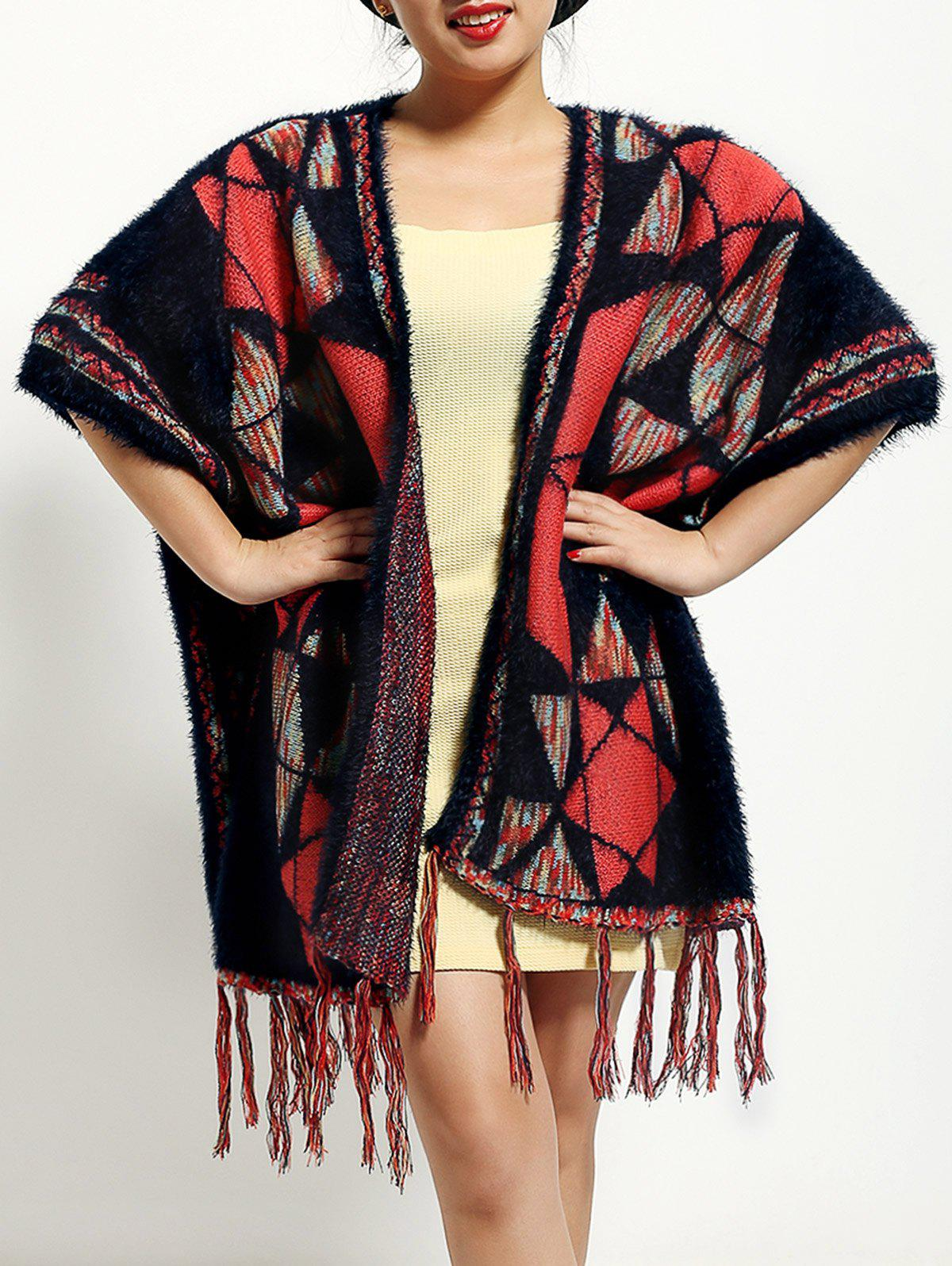 Ethnic Style Geometry Pattern Fringed Cape - COLORMIX ONE SIZE