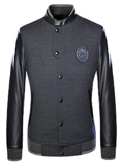 Long Sleeves Patched Leather Spliced Snap Button Up Jacket - BLACK 2XL