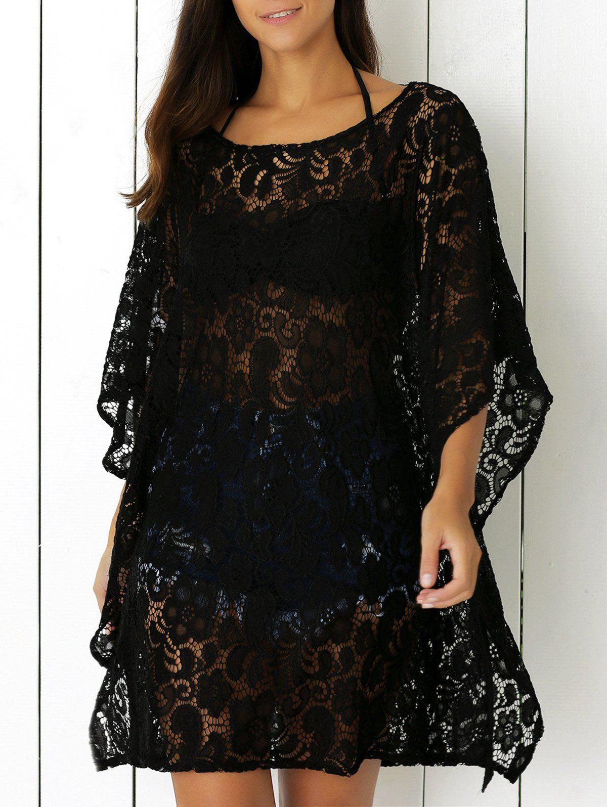 Openwork Lace Cover Up Dress - BLACK ONE SIZE