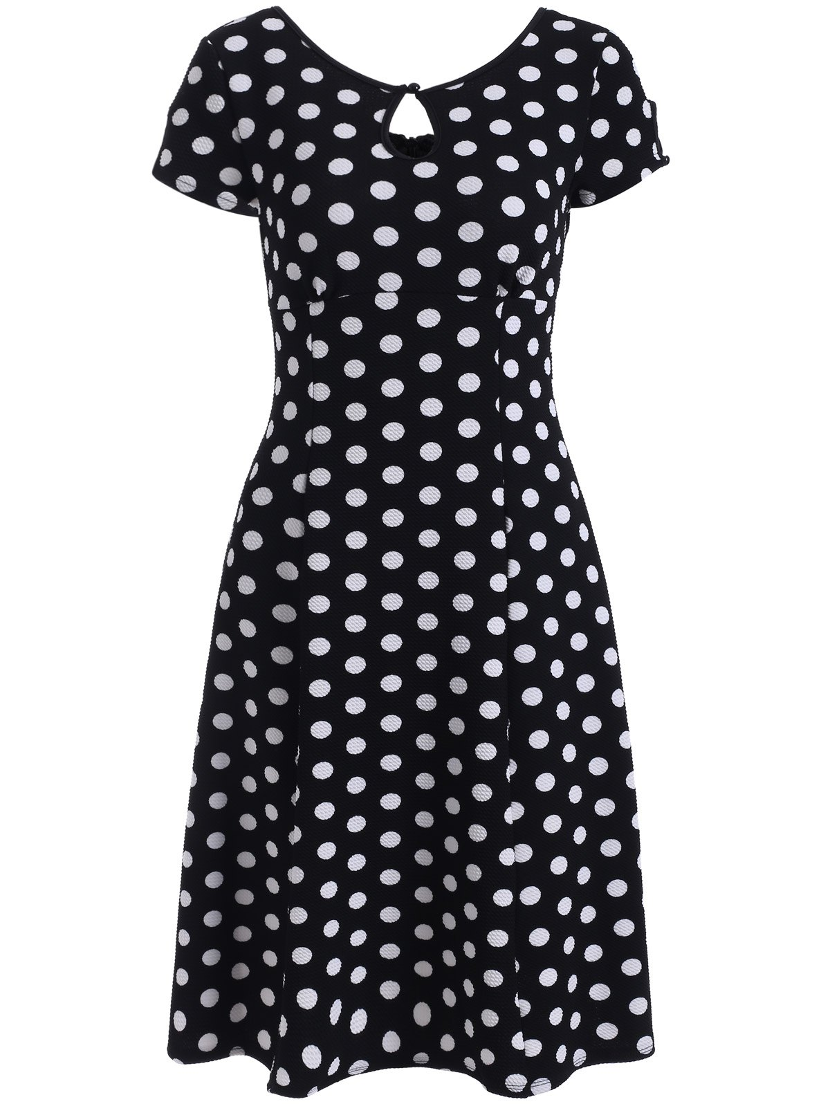 Keyhole Polka Dot Print Short Sleeve A Line Dress - BLACK L