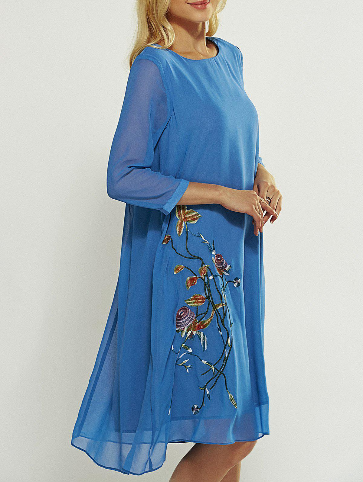 Loose Embroidered Dress - BLUE 3XL