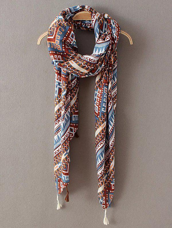 Art Ethnic Geometry Pattern Tassel Scarf - BROWN