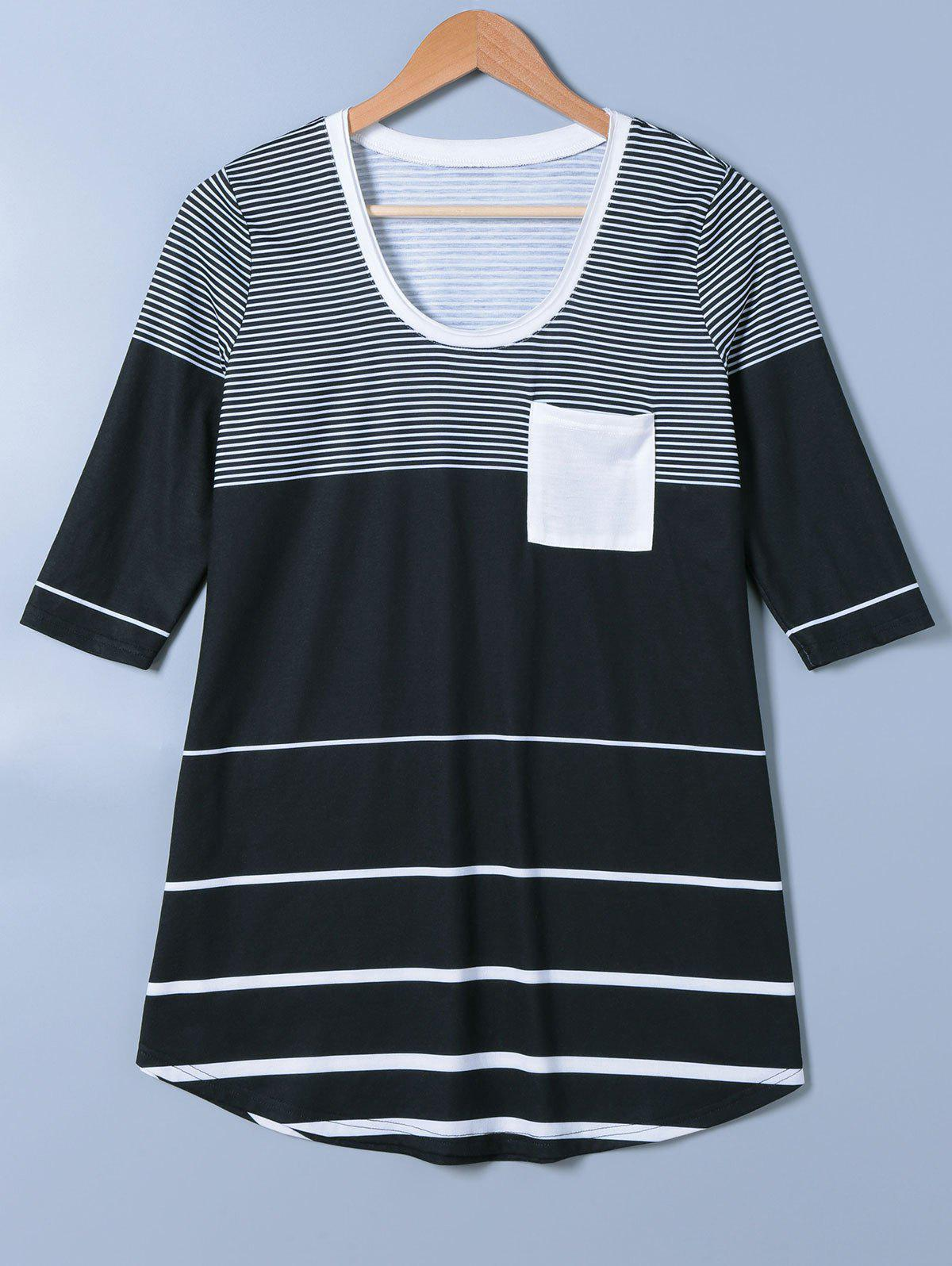 Single Pocket Striped Arc-Shaped Hem T-Shirt - WHITE/BLACK M