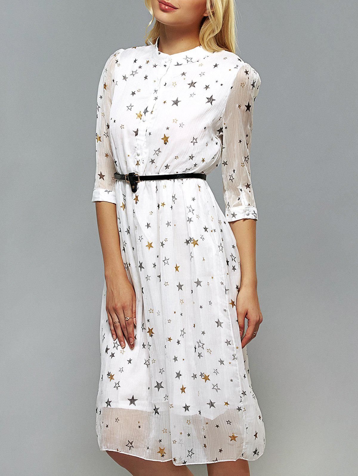 Star Pattern Belted Dress - WHITE XL