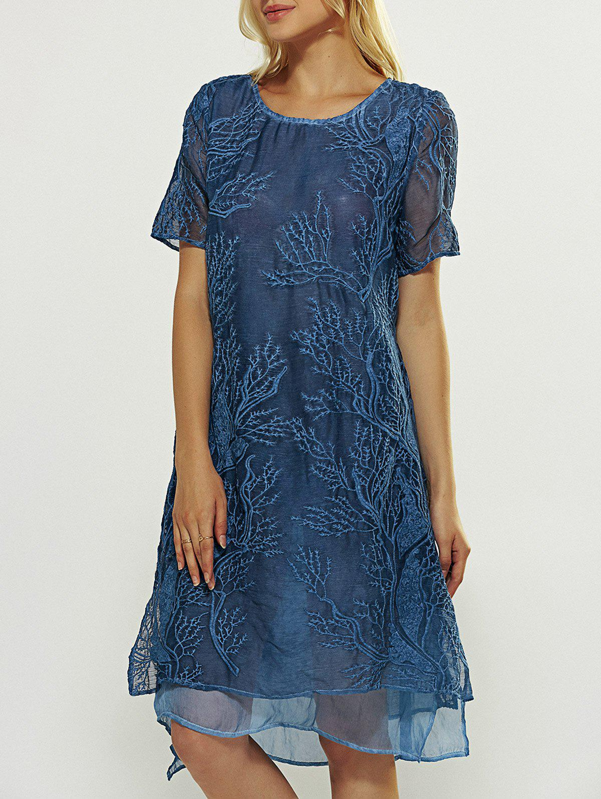 Short Sleeve Embroidered Layered Dress - BLUE XL