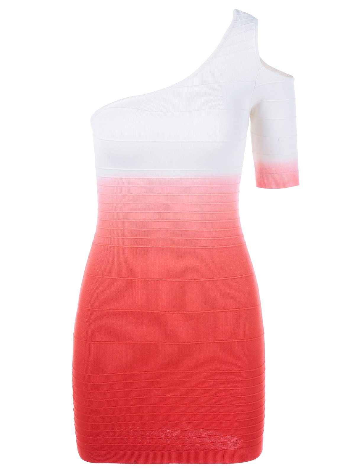 One Shoulder Cut Out Gradient Color Dress - RED ONE SIZE