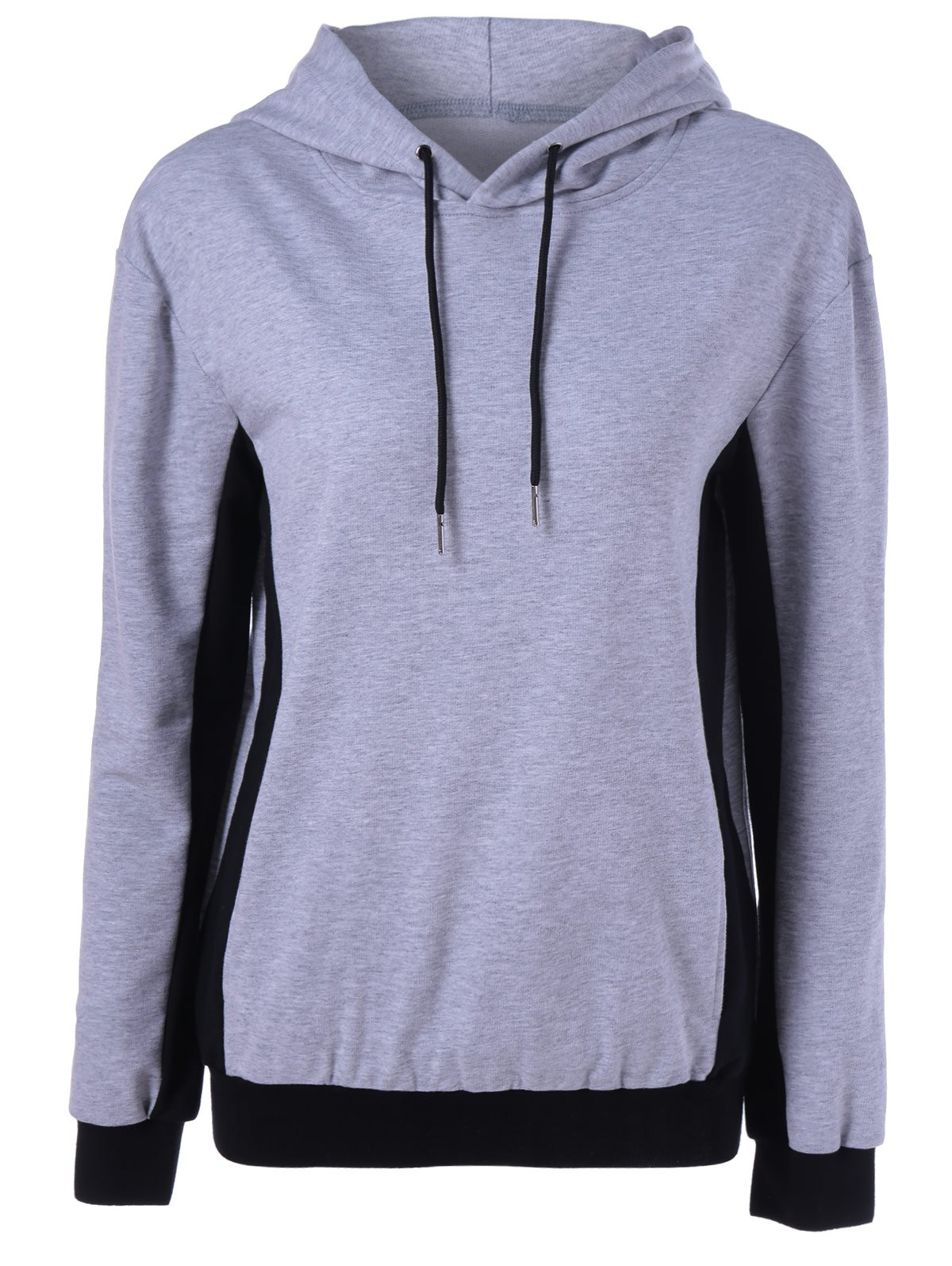Color Block Drawstring Hoodie - BLACK/GREY XL