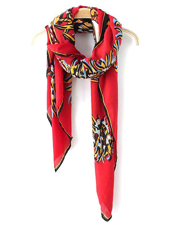 Retro Totem Pattern Scarf - RED