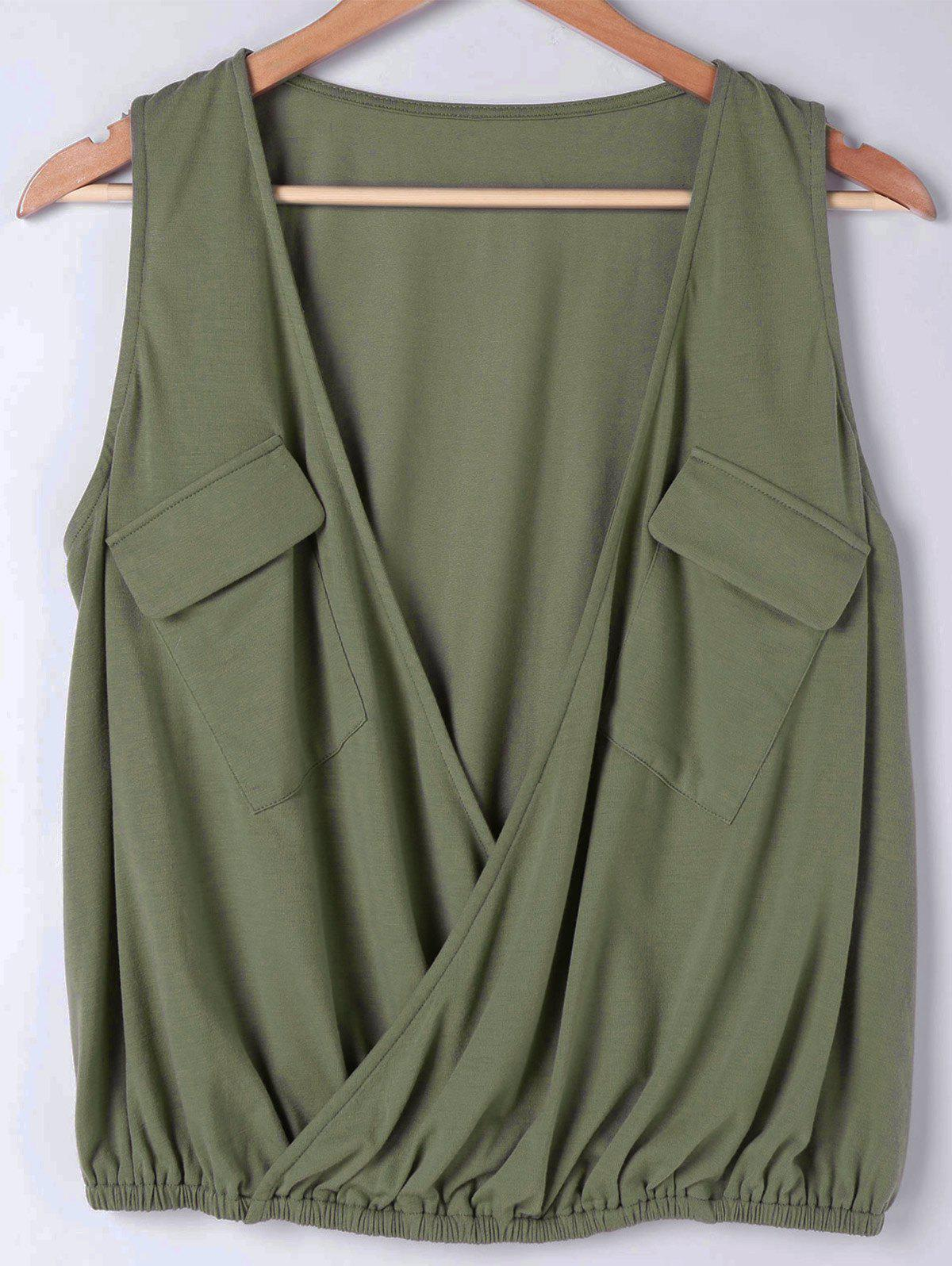 Faux Wrap Sleeveless Loose Fitting Blouse - ARMY GREEN M