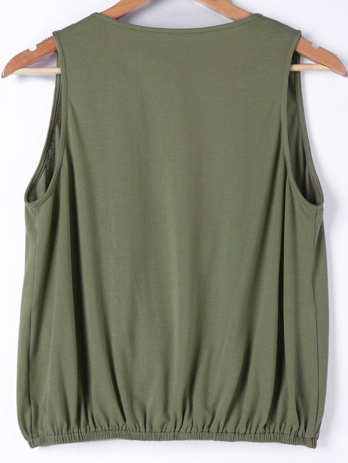 Faux Wrap Sleeveless Loose Fitting Blouse - ARMY GREEN L