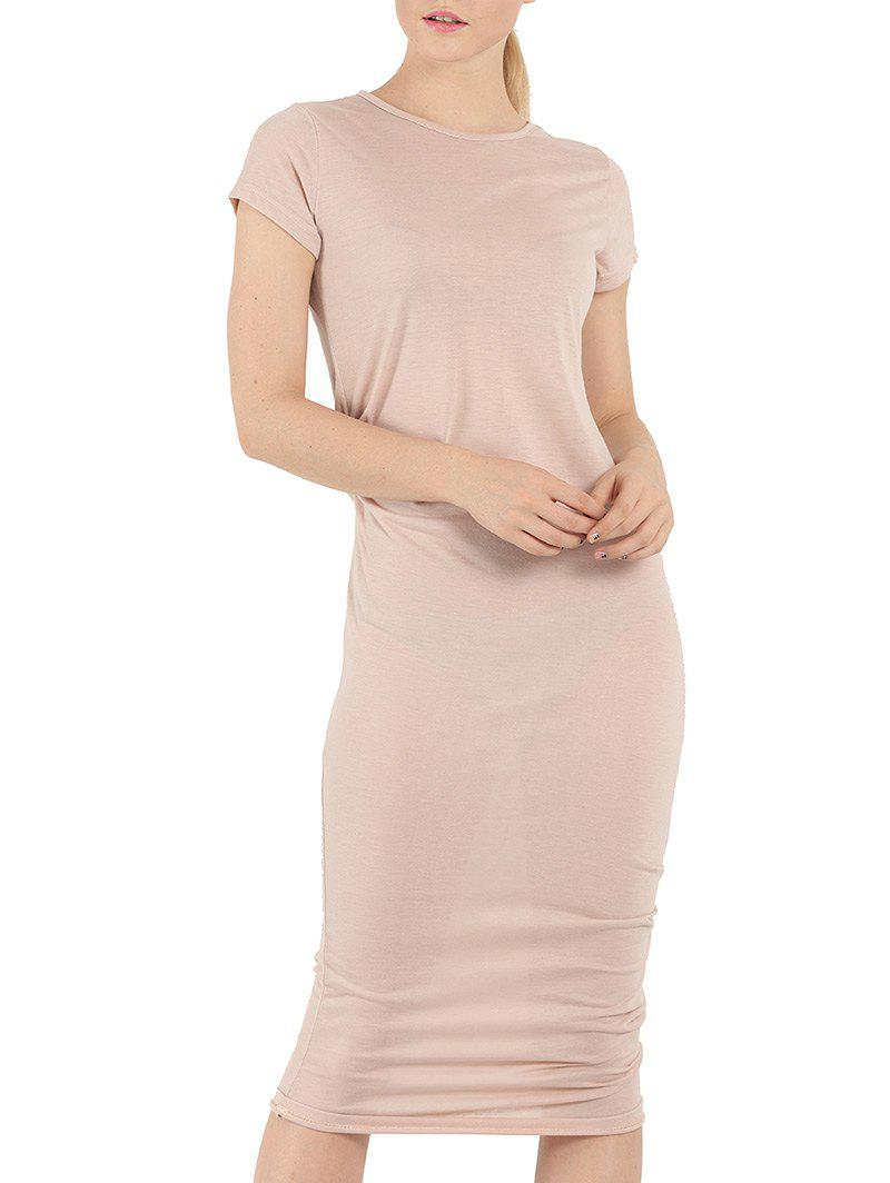 Short Sleeve Affordable Bodycon T-Shirt Dress - NUDE PINK S