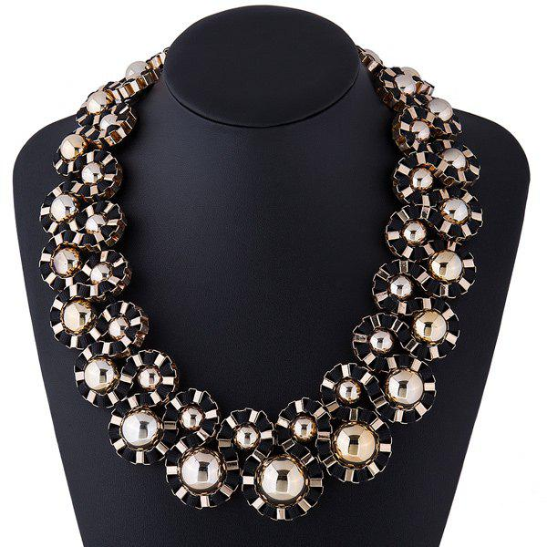 Cloth Rope Alloy Winding Necklace - BLACK