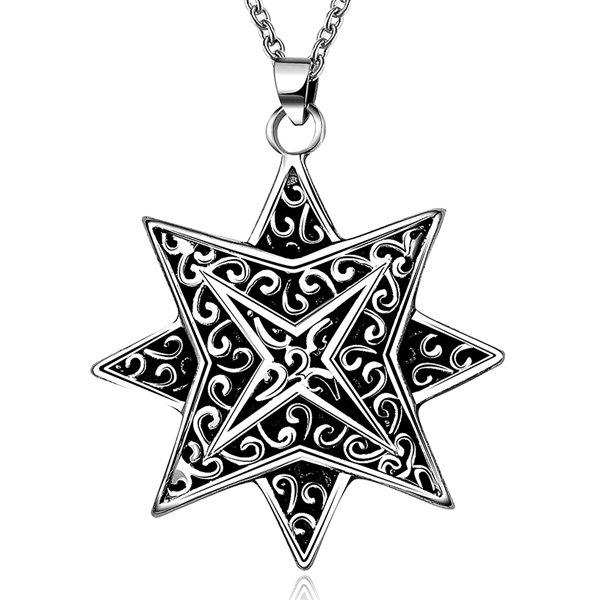Rock Embossed Geometric Octagon Layered Necklace - SILVER