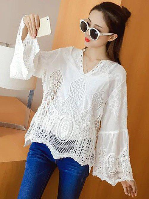 Bell Sleeve Hollow Out Blouse - WHITE ONE SIZE