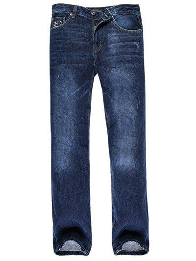 Zipper Fly Crinkly Rivet Embellished Scratched Jeans - DENIM BLUE 40