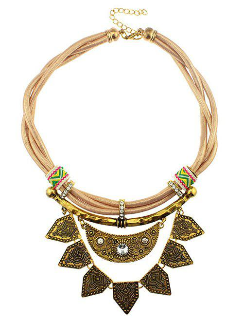 Rhinestone Faux Leather Moon Geometric Necklace - YELLOW
